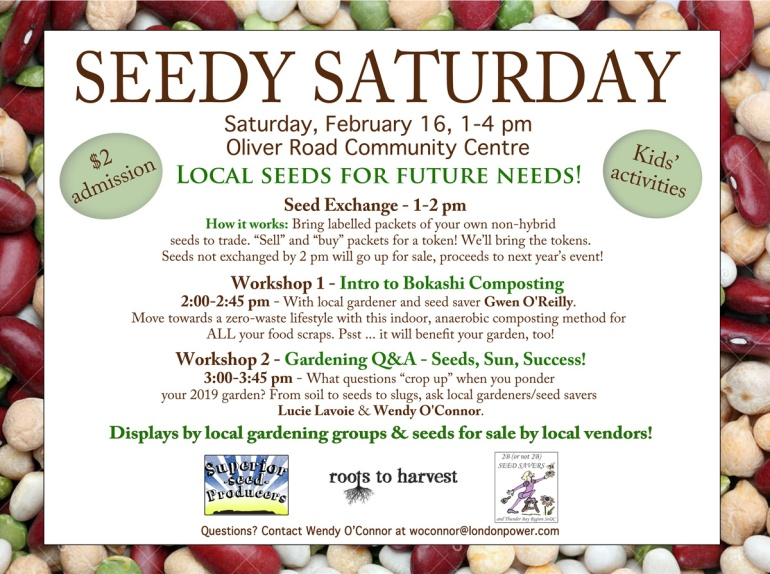 2019 Seedy Saturday poster Thunder Bay
